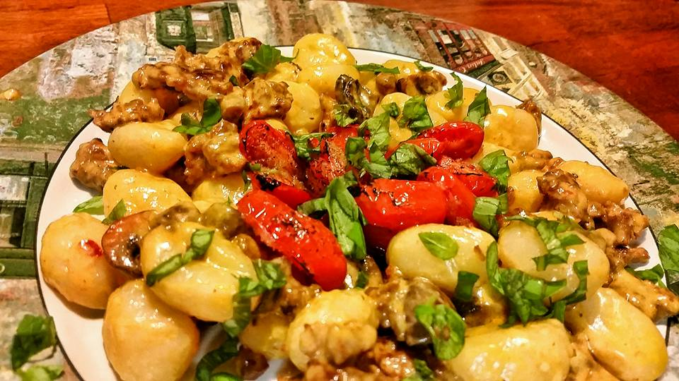 Gnocchi with Sausage and Plum Tomato in a 4-Cheese Cream Sauce with Fresh Basil